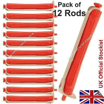 Perm Curler Rods Perming Hair Curlers ORANGE RED Medium Size Rollers. Pack of 12