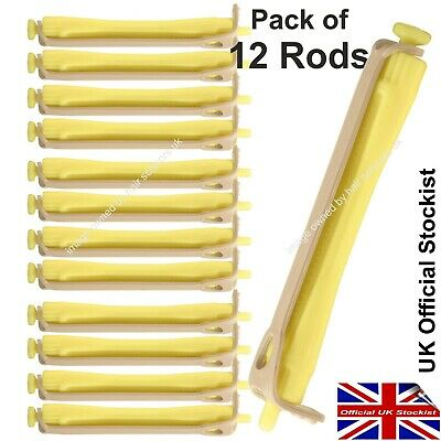 Perm Curler Rods For Perming Hair YELLOW Medium Size Rollers. Pack of 12