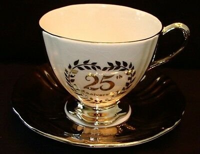 Royal Winton Grimwades Vintage 25th Silver Anniversary Tea Cup & Saucer