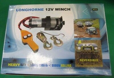 12 Volt Longhorne Winch,Ideal for Horizontal Winching Boats/Tree Stumps/Cars ect