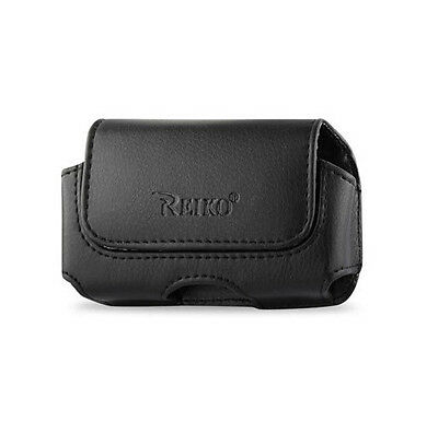 Reiko Horizontal Holster Side Clip Holder w Belt Loops Pouch Cover Leather Case