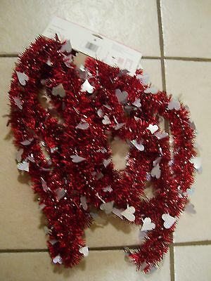 12 Ft Red Tinsel Silver Hearts Valentines Day Garland Holiday Decoration