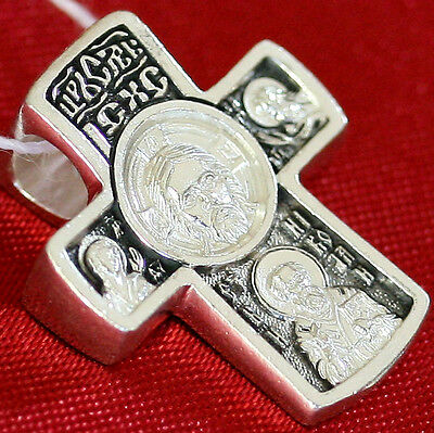 OLD STYLE RUSSIAN ORTHODOX ICON CROSS, SILVER 925 NEW, PRAYER, PRTOTECTIVE CROSS