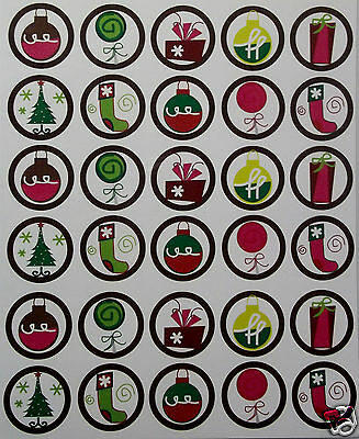 Lot of  30 Precut Images for Bottlecaps Funky Christmas Theme