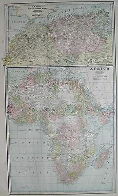 1892 Antique AFRICA MAP Beautiful Color Vintage Collectible Atlas Map