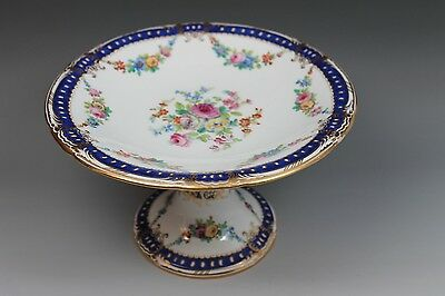 Worcester Porcelain Hand Painted Compote Blue Border Floral Swags Gold Trim