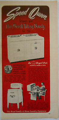 1954 vintage household AD Speed Queen automatic washer & dryer