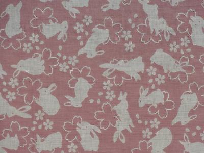 Tenugui Japanese Cotton Towel Gauze 'Pink Rabbits and Cherry Blossoms' Fabric