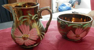 vintage gold tone WADE Harvest Ware cream and sugar floral motif