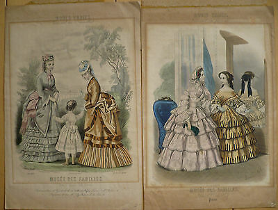 $195 OR BEST! Pair of Antique print, pretty colored lithograph, old Laure Noel