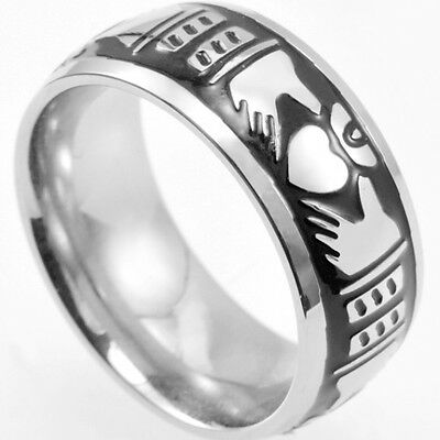 7MM Size 7-15 Stainless Steel Claddagh Heart Ring Band Drago Celtic Irish Class