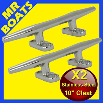 "2X 10"" 250mm ✱BOAT CLEAT ✱Stainless Steel Slimline HEAVY DUTY Rope Tie BRAND NEW"