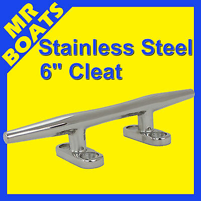 "6"" 150mm ✱ BOAT CLEAT ✱ Stainless Steel Slimline HEAVY DUTY Rope Tie BRAND NEW"