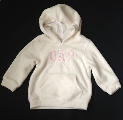 GAP Girls White Pink Logo Spell Out Pull Over Sweatshirt Hoodie Jumper 2
