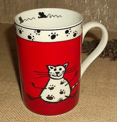 Pier One Imports Red & White Coffee Mug Cat and Mouse Illustrations Gentle Use
