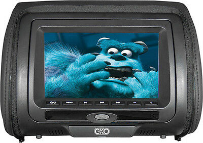 """C-KO 7"""" TFT LCD Monitor DVD Universal Replacement Headrests - Black Leatherette"""