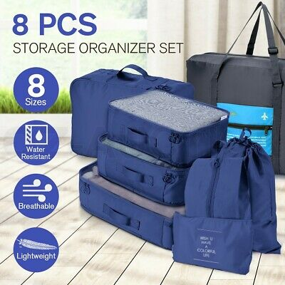 8PCS Packing Cubes Pouches Luggage Storage Bag Travel Suitcase Clothes Organiser