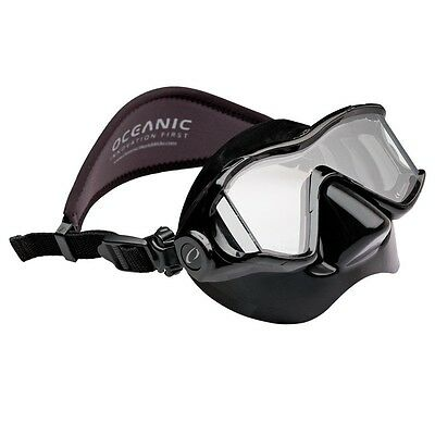 Oceanic Ion 3X Panoramic View Scuba Diving Mask with Neoprene Strap All Black