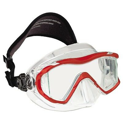 Oceanic Ion 3X Panoramic View Scuba Diving Mask with Neoprene Strap Red