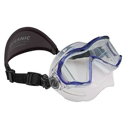 Oceanic Ion 3X Panoramic View Scuba Diving Mask with Neoprene Strap Trans. Blue