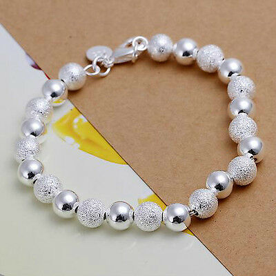 925 8mm bead lovely gift cute Silver NICE Pretty women hot Bracelet Bangle H84
