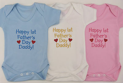 Happy 1st Fathers Day Baby Vest Grow Blue Pink White Boy Girl Daddy Funny Gift