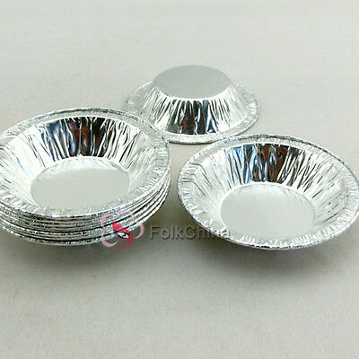 Silver Disposable Aluminum Foil Baking Cupcake Trays Pie Tart Cases 70x15mm