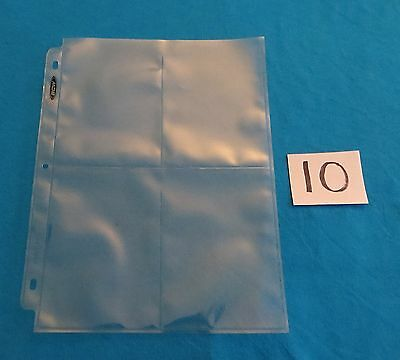"""10 4-POCKET 3.5""""x5"""" COUPON PAGES - HOLDER SHEETS - NEW! TEN PAGES PER LOT"""