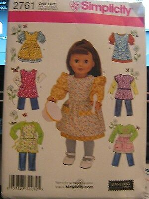 """S2761 Simplicity 18"""" Doll Pattern Clothes Crafts American Type GIRL Dolls"""