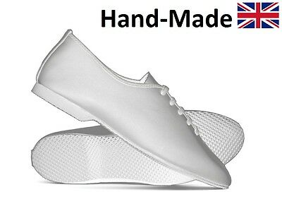 White Leather Full Rubber Sole Dance Stage Jazz Modern Shoes By Katz All Sizes