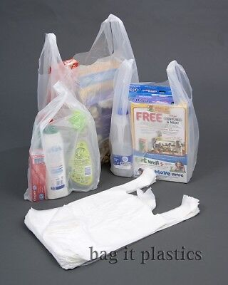 VEST STYLE WHITE PLASTIC BAG CARRIER BAGS, SMALL, MEDIUM & LARGE - 14 micron