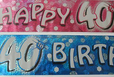 9ft / 2.7m Holographic Happy 40th Birthday Foil Party Banner Decoration Age 40