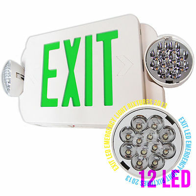 LED Green Exit Sign & Emergency Light -Compact Combo UL EXIT SIGN  EMERGENCY