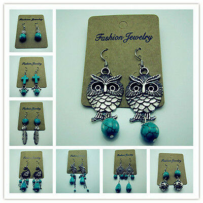 TOP Dragonfly Owl 18KGP Tibetan Silver wrapped Charm 100% Turquoise Hook Earring