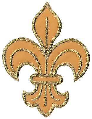 Patch écusson patche fleur de lys dorée brodé thermocollant