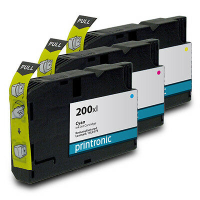 Compatible 3 pack for Lexmark 200 200XL  Color Ink Pro 4000 5500 5500t