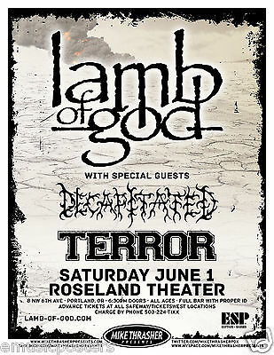 LAMB OF GOD / DECAPITATED / TERROR 2013 PORTLAND CONCERT TOUR POSTER -Metal