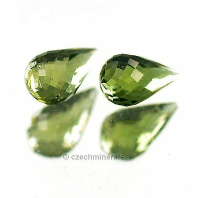 0.56cts tear drop cut 4x7mm moldavite faceted cutted gem BRUS814