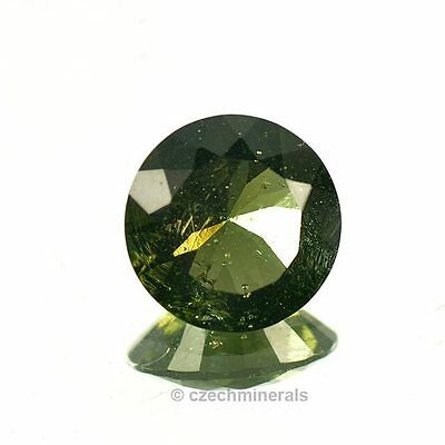 4.04cts round diamond cut 12mm moldavite faceted cutted gem BRUS783
