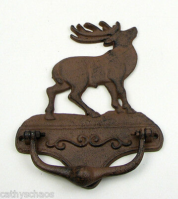 Elk Cast Iron Metal Door Knocker Cabin Home Lodge Decor Vintage Style Christmas