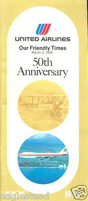 Airline Timetable - United - 02/03/76 - 50th Anniversary Cover