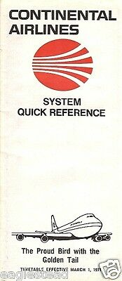 Airline Timetable - Continental - 01/03/71 - System QR