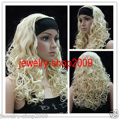 Title1436 Cosplay long Platinum Blonde With Headband Curly Wavy Women's Wig