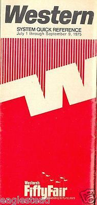 Airline Timetable - Western - 01/07/75 - 50 yrs flying