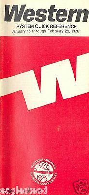 Airline Timetable - Western - 15/01/76 - 50th Anniversary