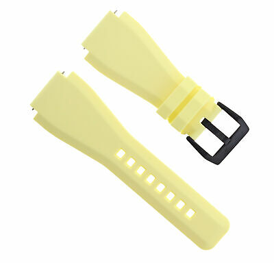 24Mm Silicone Rubber Watch Strap Band For Bell Ross Yellow Br-01-Br-03 Black Pvd