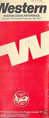 Airline Timetable - Western - 15/01/77