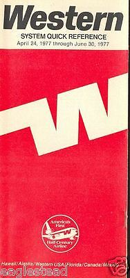 Airline Timetable - Western - 24/04/77