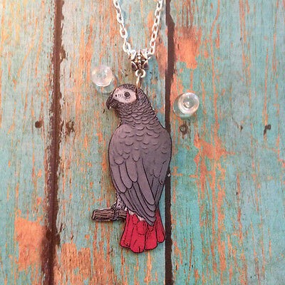 African Gray Parrot Bird Necklace Handcrafted Plastic Made in USA