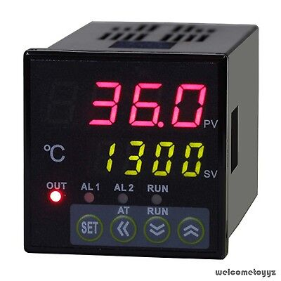 1/16 DIN Dual 4-Digit Digital PID Temperature Controller +Thermocouple +SSR 40DA